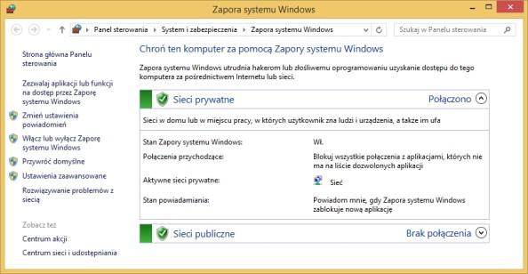 Rysunek 13. Przystawka Zapora systemu Windows wywołana zapomocą polecenia firewall.cpl