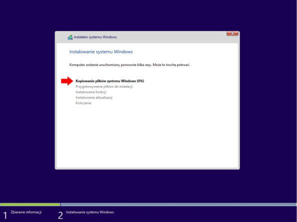 Rysunek 25. Proces instalacji systemu Windows 8 został rozpoczęty.