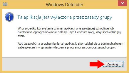 Rysunek 25. Windows Defender wyłączony zapomocą Edytora rejestru.