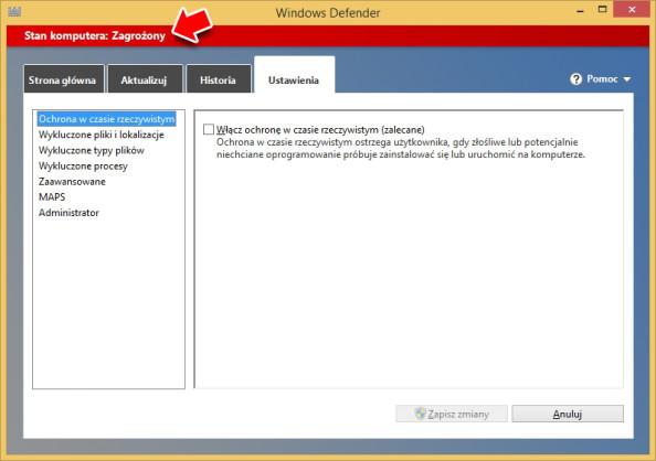 Rysunek 5. Informacja ozagrożeniu komputera spowodowana wyłączeniem Windows Defendera.