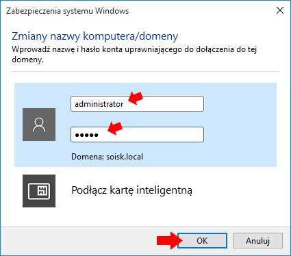 Autoryzacja przy użyciu konta utworzonego naserwerze