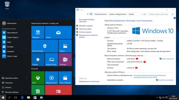 Wywołanie okna dialogowego Właściwości systemu Windows 10