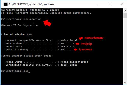 Okno wiersza poleceń wsystemie Windows 10