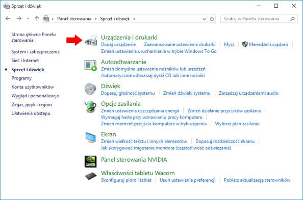 Widok zakładki Urządzenia idrukarki wsystemie Windows 10.