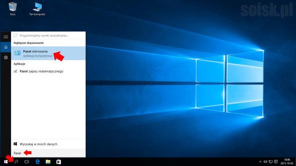 Uruchomienie Panelu sterowania wsystemie Windows 10.