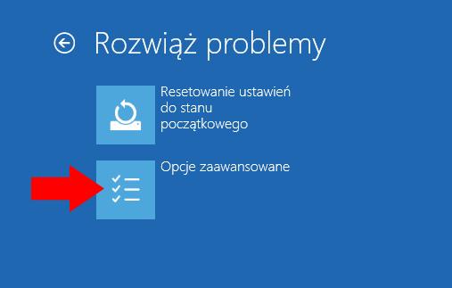 Opcje zaawansowane systemu Windows 10.