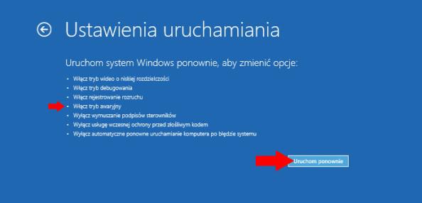 Włączanie trybu awaryjnego wsystemie Windows 10.