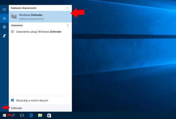 Wywołanie okna aplikacji Windows Defender.