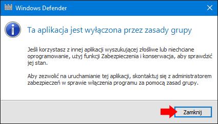 Wyłączony Windows Defender przy pomocy edytora rejestru.