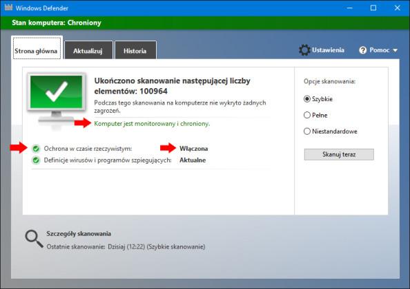 Włączenie aplikacji Windows Defender przy użyciu polecenia PowerShell.