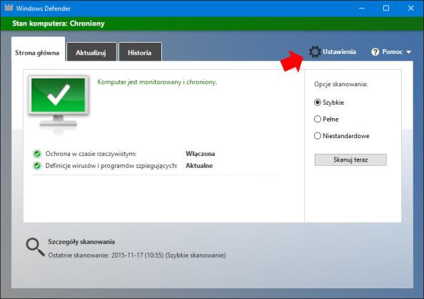 Przejście dozakładki ustawienia wprogramie Windows Defender.