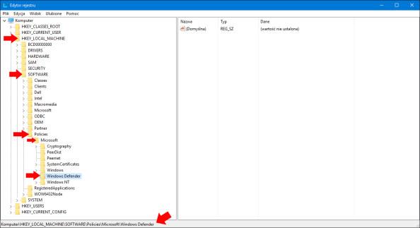 Ścieżka doklucza HKEY_LOCAL_MACHINE\SOFTWARE\Policies\Microsoft\Windows Defender