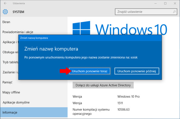 Zmiana nazwy komputera wsystemie Windows 10.