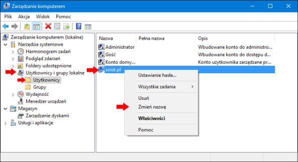Zmiana nazwy użytkownika lokalnego wsystemie Windows 10.