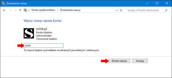Zmiana nazwy konta wsystemie Windows 10.