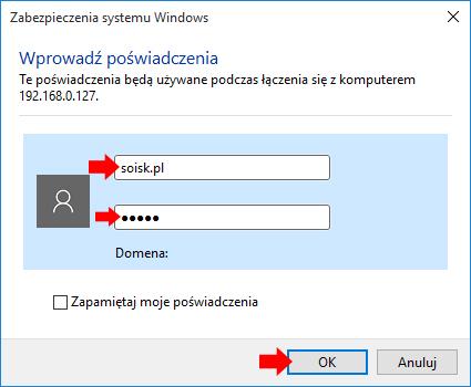 Wprowadzanie poświadczeń umożliwiających połączenie się zezdalnym komputerem.