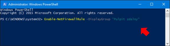 "Użycie komendy Enable-NetFirewallRule -DisplayGroup ""Pulpit zdalny"""