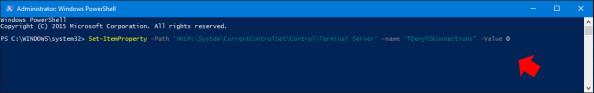 Zmiana klucza wrejestrze poleceniem PowerShell.