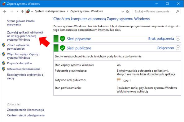 """Widok okna """"Zezwalaj aplikacji lub funkcji nadostęp przez Zaporę systemu Windows""""."""