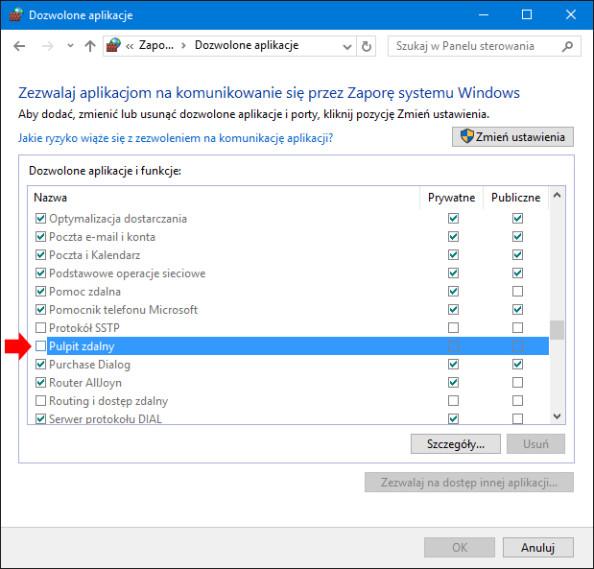 Widok okna pozwalania aplikacjom nakomunikowanie się zsystemem Windows 10 przez Zaporę.