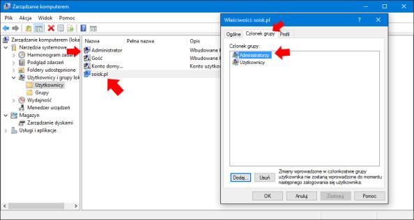 Aktywowanie lokalnego konta administratora + przypisanie użytkownika dogrupy administratorzy.