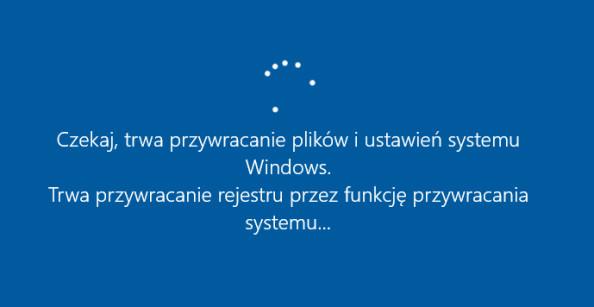 Rozpoczęcie procesu przywracania plików iustawień wsystemie Windows 10.