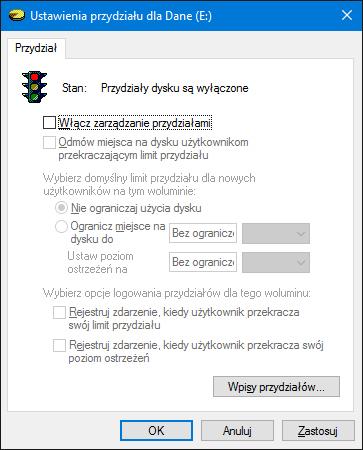 Widok wyłączonych przydziałów nadysku wsystemie Windows 10.