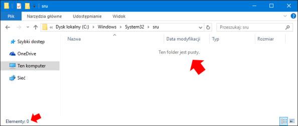 Usunięcie całej zawartości folderu sru znajdującego się wC:\Windows\System32