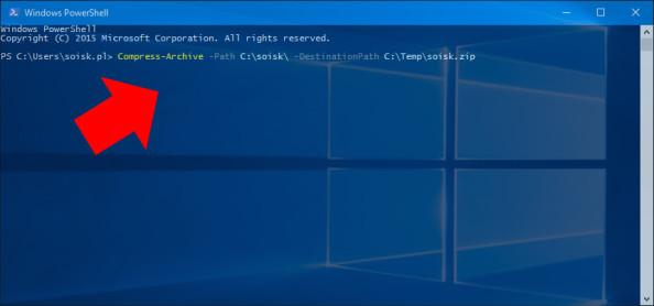 Tworzenie archiwum wsystemie Windows 10 poleceniem Compress-Archive.