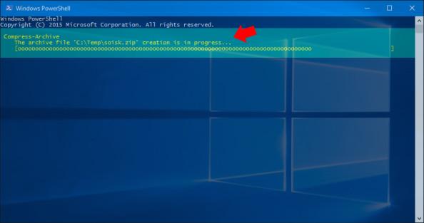 Rozpoczęcie procesu tworzenie archiwu poleceniem Compress-Archive.