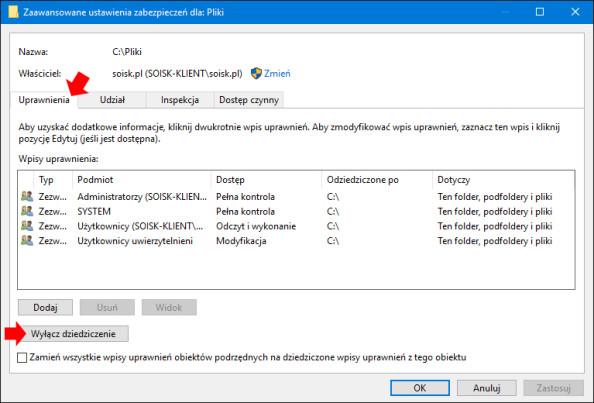 Wyłączanie dziedziczenia wsystemie Windows 10.`