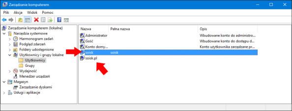 Konta utworzone wsystemie Windows 10.