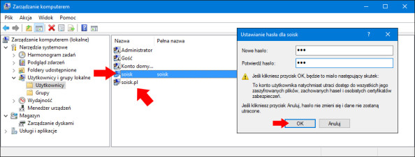 Nadanie hasła dla nowego konta wsystemie Windows 10.