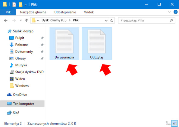 Zawartość folderu przeznaczonego doudostępnienia.