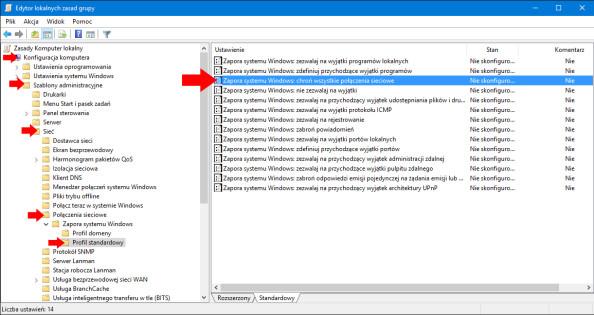 Wyłączenie Zapory sieciowej systemu Windows 10 przy użyciu edytora lokalnych zasad grup (gpo).