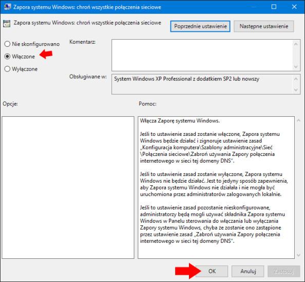 Włączenie Zapory sieciowej systemu Windows 10 przy pomocy GPO.