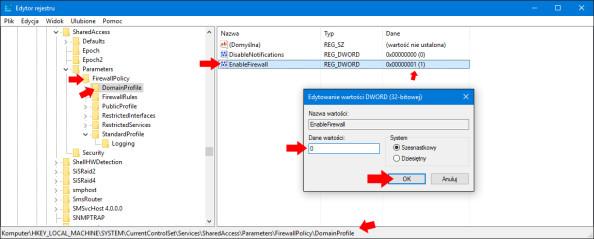 Wyłączenie Zapory sieciowej systemu Windows 10 przy użyciu edytora rejestru.