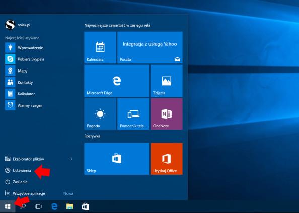 Wywołanie okna Ustawienia systemu Windows 10.