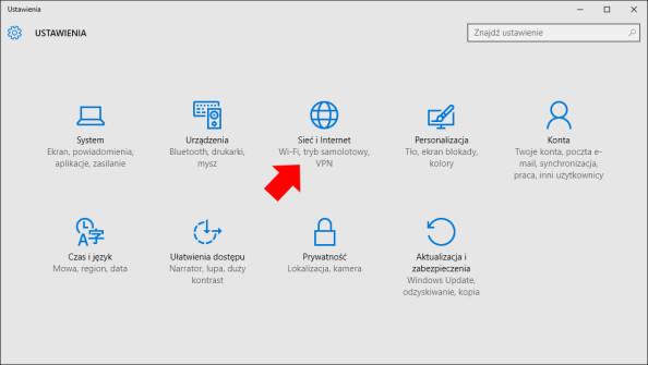 Widok zakładki Sieć iinternet wsystemie Windows 10.