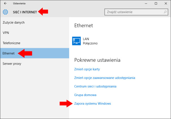 Wybór zakładki Ethernet wsystemie Windows 10.
