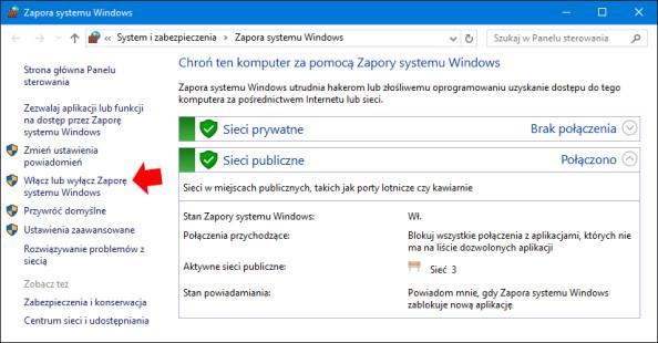 Wyłączenie Zapory systemu Windows.