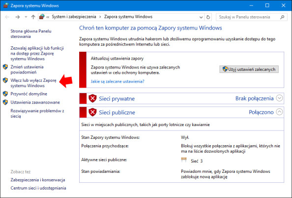 Włączenie Zapory systemu Windows.