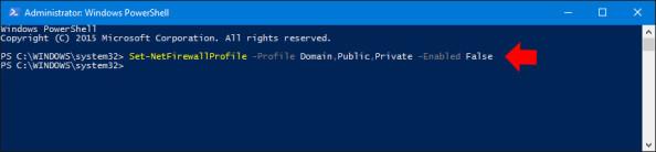 Wyłączenie Zapory sieciowej systemu Windows 10 poleceniem PowerShell.