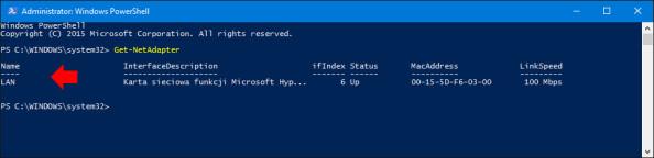 Wyświetlenie zainstalowanych wsystemie Windows 10 kart sieciowych.