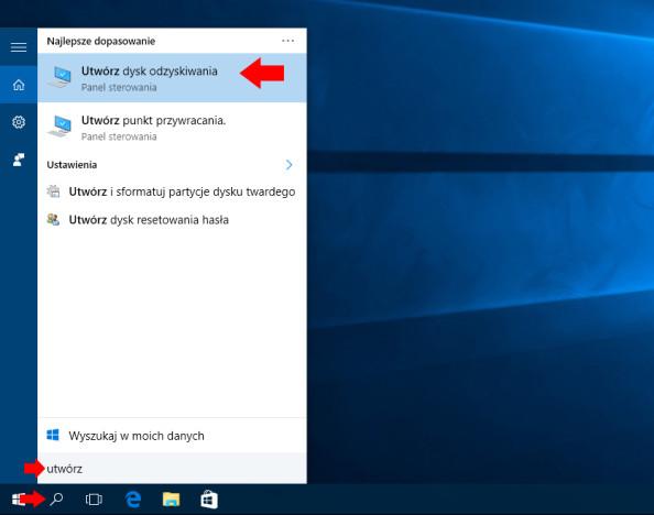 """Wyszukanie narzędzia """"Utwórz dysk odzyskiwania"""" wsystemie Windows 10."""