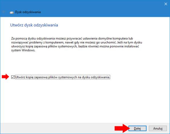 Tworzenie dysku odzyskiwania wsystemie Windows 10.