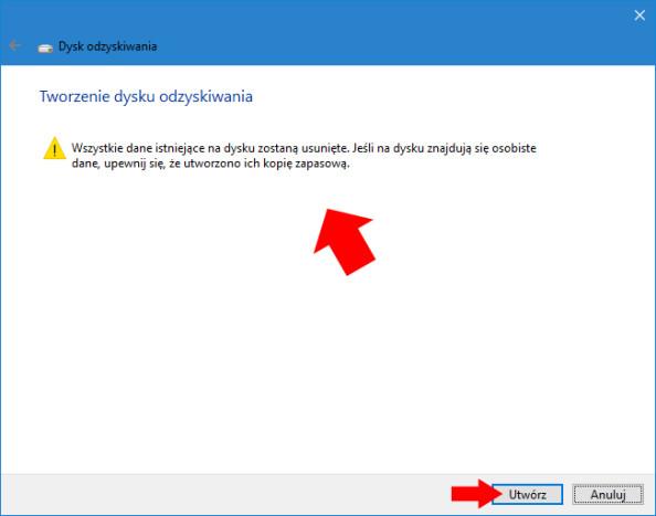Formatowanie dysku flash, naktórymzostanie utworzony dysk odzyskiwania systemu Windows 10.