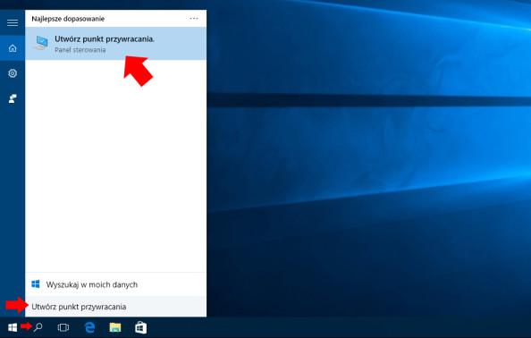 """Wyszukanie narzędzia """"Utwórz punkt przywracania"""" wsystemie Windows 10."""
