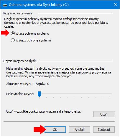 Włączanie ochrony systemu Windows 10.