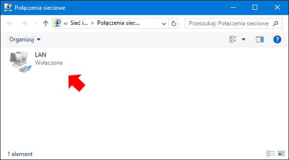 Wyłączenie karty sieciowej poleceniem PowerShell.